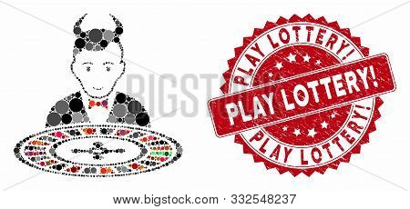 Mosaic Devil Roulette Croupier And Rubber Stamp Seal With Play Lottery Exclamation Caption. Mosaic V