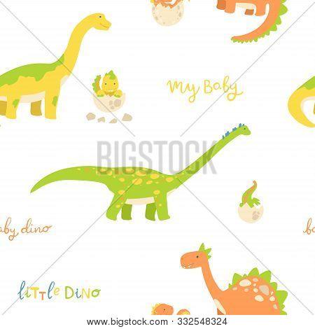 Flat Cartoon Style Dinosaur Seamless Pattern. Best For Kids Fashion, Children Room Decoration, Kids