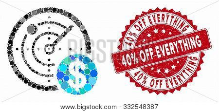 Mosaic Dollar Radar And Corroded Stamp Seal With 40 Percent Off Everything Text. Mosaic Vector Is Co