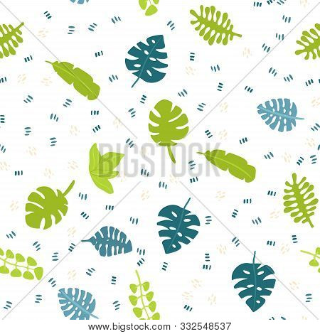 Vector Flat Seamless Pattern With Tropical Leaves