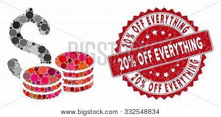 Mosaic Cash And Rubber Stamp Seal With 20 Percent Off Everything Phrase. Mosaic Vector Is Created Wi