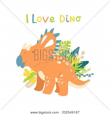 Flat Cartoon Style Cute Dinosaur With Tropical Leaves. Vector Illustration For Card Or Poster, Child