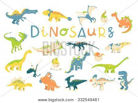 Big Vector Set Of Different Dinosaurs In Flat Cartoon Style. Best For Card Or Poster, Children Room