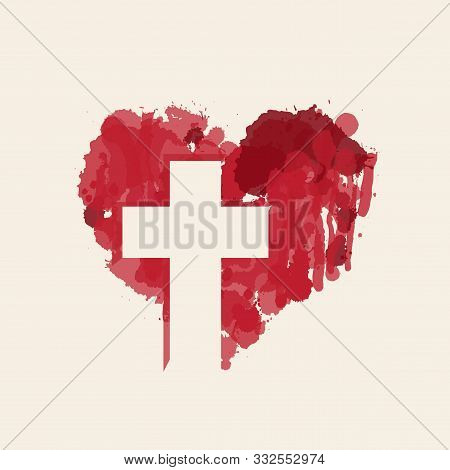 The Sign Of The White Christian Cross In The Abstract Red Heart Inside. Love Of God, Religious Symbo