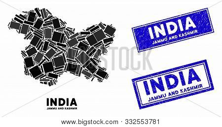 Mosaic Jammu And Kashmir State Map And Rectangle Stamps. Flat Vector Jammu And Kashmir State Map Mos
