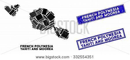 Mosaic Tahiti And Moorea Islands Map And Rectangular Stamps. Flat Vector Tahiti And Moorea Islands M