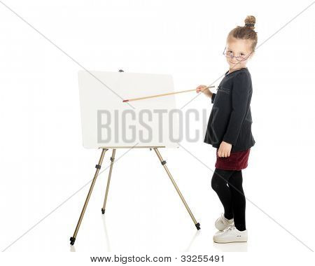 """An adorable """"teacher"""" peering over her glasses while pointing at the white board easel.  On a white background.  (The easel is left blank for your text.)"""