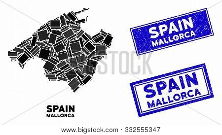 Mosaic Mallorca Map And Rectangular Stamps. Flat Vector Mallorca Map Mosaic Of Scattered Rotated Rec