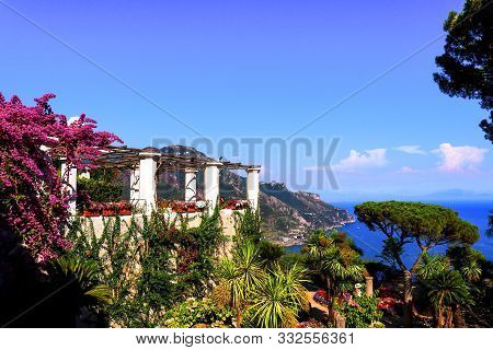 Picturesque View On See And Mountains From Villa Rufolo Garden In Ravello. Summer Landscape, South I