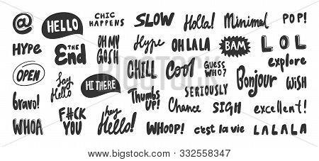 Hello, Slow, La La, Minimal, Gosh, Whoop, Whoa, Excellent, Lol, Bravo, Hi, Say, Chill, Bam. Vector H