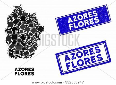 Mosaic Flores Island Of Azores Map And Rectangle Watermarks. Flat Vector Flores Island Of Azores Map