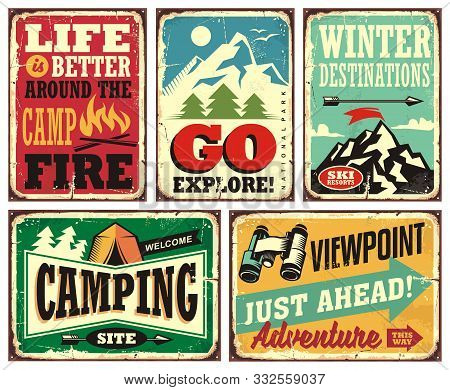 Hiking And Camping Retro Signs Collection. Outdoor Activities Vintage Posters Set. Wilderness And Ad