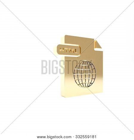 Gold Html File Document. Download Html Button Icon Isolated On White Background. Html File Symbol. M