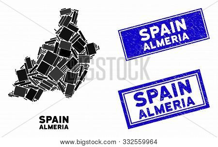 Mosaic Almeria Province Map And Rectangular Seal Stamps. Flat Vector Almeria Province Map Mosaic Of