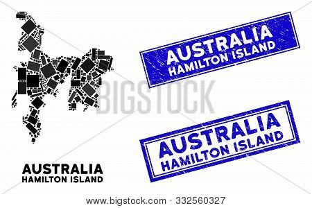 Mosaic Hamilton Island Map And Rectangular Seal Stamps. Flat Vector Hamilton Island Map Mosaic Of Ra