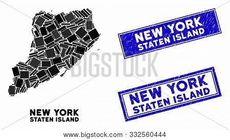 Mosaic Staten Island Map And Rectangular Seal Stamps. Flat Vector Staten Island Map Mosaic Of Random