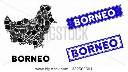 Mosaic Borneo Map And Rectangle Seals. Flat Vector Borneo Map Mosaic Of Randomized Rotated Rectangle