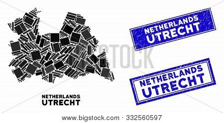 Mosaic Utrecht Province Map And Rectangle Rubber Prints. Flat Vector Utrecht Province Map Mosaic Of