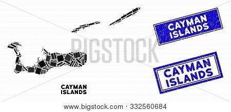 Mosaic Cayman Islands Map And Rectangle Watermarks. Flat Vector Cayman Islands Map Mosaic Of Random