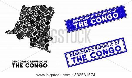 Mosaic Democratic Republic Of The Congo Map And Rectangle Rubber Prints. Flat Vector Democratic Repu