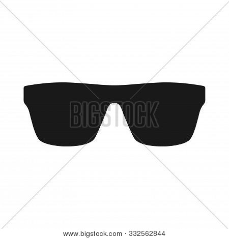 Sunglasses Black Vector Silhouette Icon. Sunglasses Vintage Style Glyph Symbol.