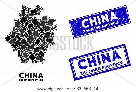 Mosaic Zhejiang Province Map And Rectangular Seal Stamps. Flat Vector Zhejiang Province Map Mosaic O