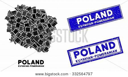 Mosaic Kuyavian-pomeranian Voivodeship Map And Rectangle Seals. Flat Vector Kuyavian-pomeranian Voiv