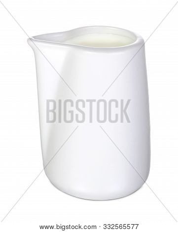 Closeup Of A White Ceramic Creamer Or Saucier On A White Background
