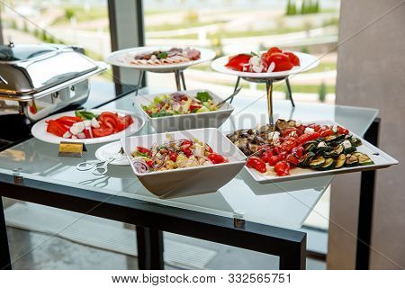Catering Food. Snacks On A Banquet Table.