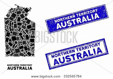 Mosaic Australian Northern Territory Map And Rectangle Stamps. Flat Vector Australian Northern Terri