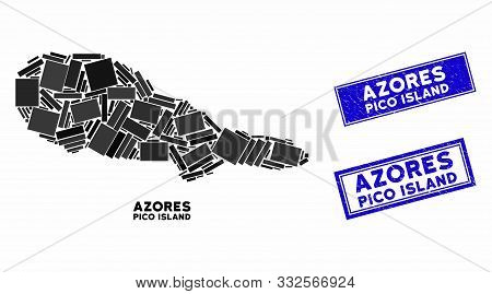 Mosaic Pico Island Map And Rectangular Seal Stamps. Flat Vector Pico Island Map Mosaic Of Randomized