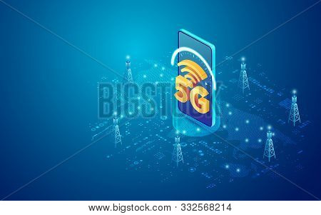 Concept Of Telecommunication Technology, 5g Sign With Mobile Phone And Communication Tower In Isomet