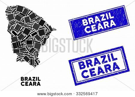 Mosaic Ceara State Map And Rectangular Seal Stamps. Flat Vector Ceara State Map Mosaic Of Randomized