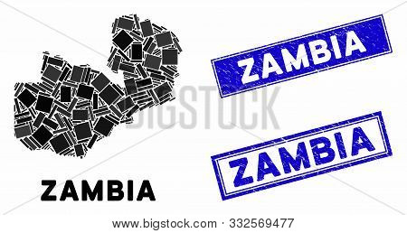 Mosaic Zambia Map And Rectangle Seal Stamps. Flat Vector Zambia Map Mosaic Of Scattered Rotated Rect