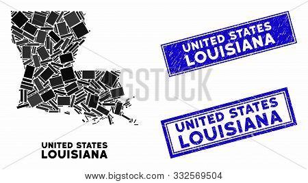 Mosaic Louisiana State Map And Rectangular Seal Stamps. Flat Vector Louisiana State Map Mosaic Of Ra