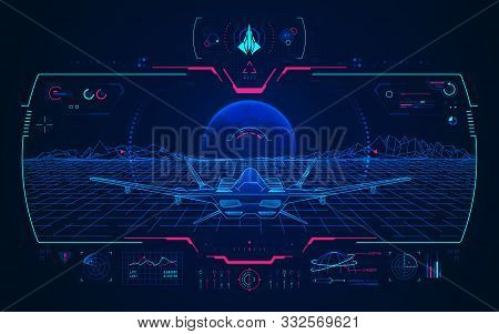 Concept Of Aviation Technology Advancement, Military Aircraft With Digital Radar Interface