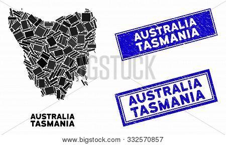 Mosaic Tasmania Island Map And Rectangle Seal Stamps. Flat Vector Tasmania Island Map Mosaic Of Scat