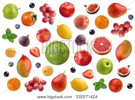 Fruit Isolated On White Background. Fruit Backdrop. A Large Collection Of Citrus Fruits, Apples And