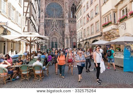 Strasbourg, Bas-rhin / France - 10 August 2019: View Of The Strasbourg Cathedral And Many Tourists O