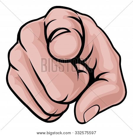 A Cartoon Hand Pointing Finger Knuckles Front On