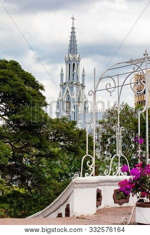 The Historical Gothic Church Of La Ermita Seen From The Antique Ortiz Bridge In The Ciy Of Cali In C
