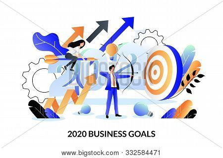 Business Goals, Strategy And Future Achievement Plan For 2020 New Year. Vector Flat Cartoon Illustra