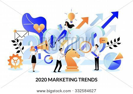 Digital Marketing Trends, Strategy And Business Plan For 2020 New Year. Vector Flat Cartoon Illustra