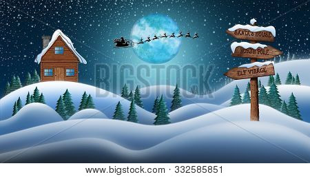 Santa Clause And Reindeers Sleighing Through Christmas Night Over The Snow Fields With Directional S