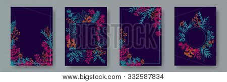 Simple Herb Twigs, Tree Branches, Flowers Floral Invitation Cards Set. Bouquet Wreath Elegant Cards