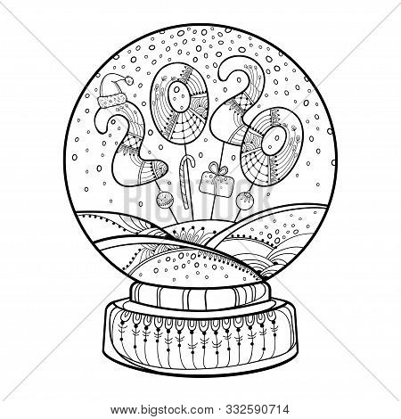 Vector Outline Snow Globe Or Snowball With Falling Snowflakes And Number 2020 In Black Isolated On W