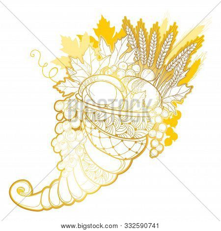 Vector Outline Gold Cornucopia Or Horn Of Plenty Full Of Pumpkin, Grape, Wheat And Maple Leaves Isol