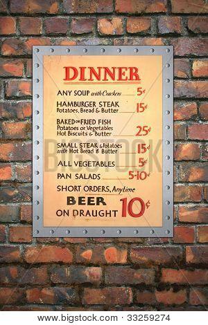 Vintage Cafe Menu on Brick Wall