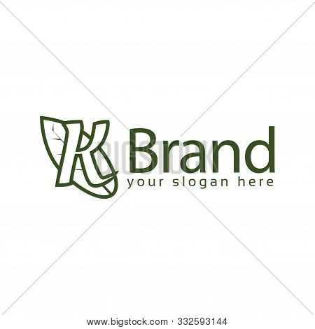 Letter K Leaf Logo Template., Flat Design. Letter K. Vector Illustration On White Background