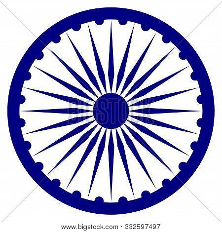 The Ashoka Chakra (ashok Wheel) Vector Icon In A Navy Blue Color On A White Background. Indian Natio